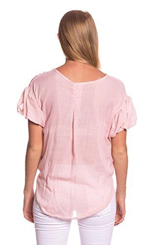 Abbino 4167 Blusas con Lazo para Mujer - Hecho en ITALIA - 6 Colores - Entretiempo Primavera Verano Otoño Mujeres Femeninas Elegantes Camisas Casual Vintage Oficina Fiesta Fashion Rebajas Manga Larga Rosa