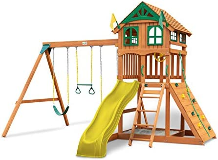 Gorilla Playsets 01-1063-Y Outing Wood Swing Set with Wood Roof Yellow Slide, Amber
