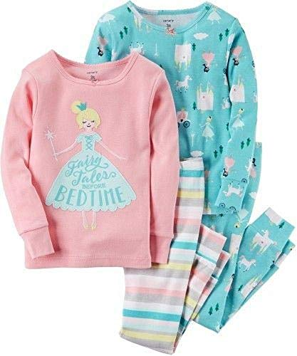 Carter's Girls' 2T-8 4 Piece Princess Fairy Tale Pajama Set 8
