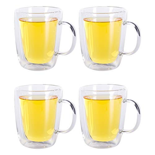 0cc295d4a417e Xena 4 Piece Mugs Set 8 oz Double Wall Borosilicate Glass Thermal Insulated  Cups Clear Handle... From Xena