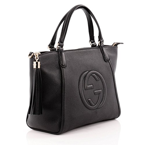 Gucci Patent Soho Tote Black Patent Leather Shoulder Gold Hardware Handbag Bag