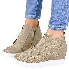 Ermonn Womens Wedge Sneakers Fashion High Top Side Zipper Platform Booties Flat Shoes                     Style: Fashion sneakers              Heel: Platform Wedge              Features: High top, Side zipper                     Attent...