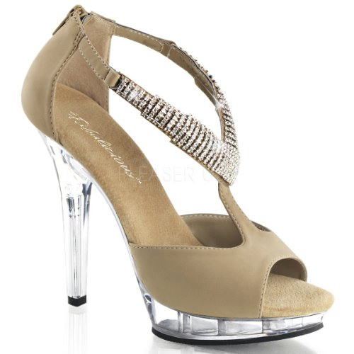 Pleaser Usa Shoes Nubuck Lip Multicolore Taupe Clear 155 APAxqr1S