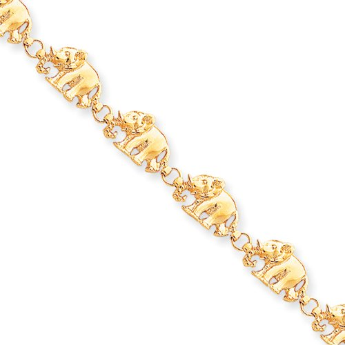 14k Yellow Gold Polished Elephant Bracelet - 7 Inch by The Black Bow