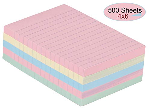 1InTheOffice Sticky Notes 4x6, Lined Assorted Pastel Color Self-Stick Notes 4