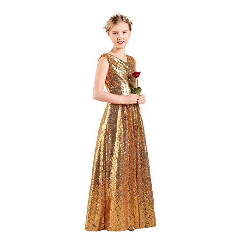 - Long Junior Bridesmaid Dress Sequin Flower Girl Dress Gold Formal Wedding Party Pageant Maxi Dress Dance Ball Gown 11t