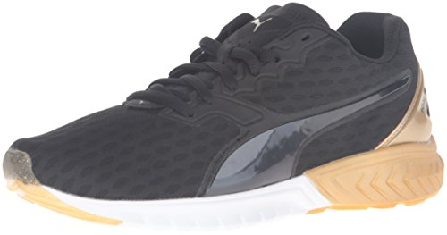 PUMA Women's Ignite Dual Wn's Running Shoe, Puma Black/Gold, 8 M US