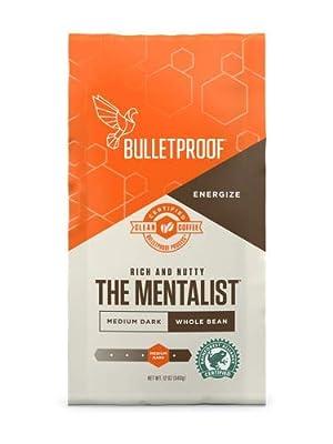 Bulletproof The Mentalist Whole Bean Coffee, Premium Gourmet Medium Dark Roast Organic Beans, Rainforest Alliance certified, Keto diet, Clean Upgraded coffee (12 Ounces) by Bulletproof
