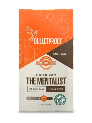 Bulletproof The Mentalist Whole Bean Coffee - Premium Gourmet Medium Dark Roast Organic Beans, Rainforest Alliance certified, Clean Upgraded Whole Bean