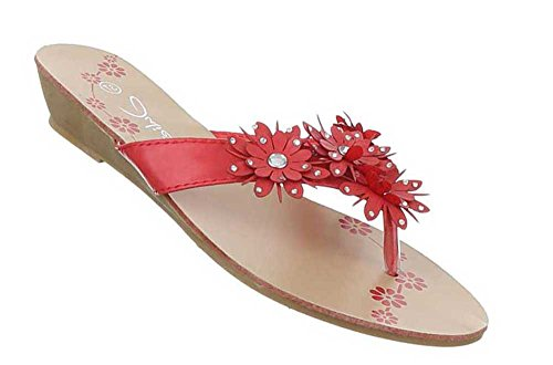 Damen Sandalen Schuhe Zehentrenner Schwarz Rot