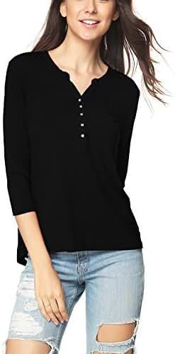 Women's V-neck 3/4 Sleeve Organic Bamboo T-shirt Henley Top