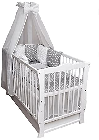 Baby Cama Cuna Junior cama 120 x 60 Julia Juego de cama color Blanco Minky Completo Colchón cajón techo Cojín: Amazon.es: Bebé