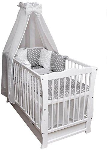 Baby Cama Cuna Junior cama 120 x 60 Julia Juego de cama color Blanco Minky Completo