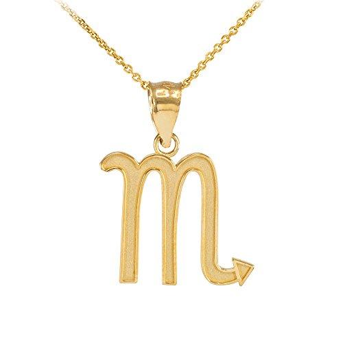 Collier Femme Pendentif 10 Ct Or Jaune Scorpion Zodiaque Signe (Livré avec une 45cm Chaîne)