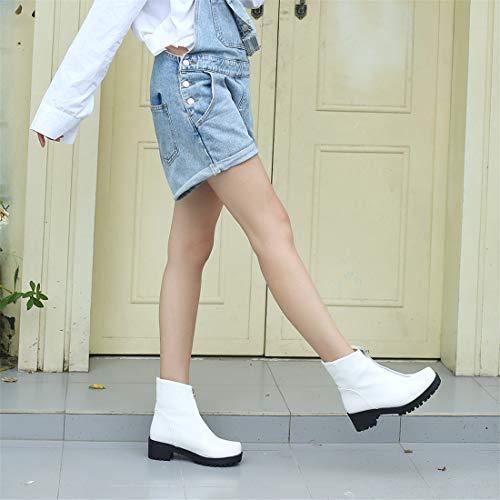 y tamaño cómodo white de Mujer Botas Mujer para Botas Mujer Gran Cuadrado Botas Casual Zapatos Sandalette con de de DEDE F0wSff