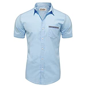 Tom's Ware Mens Casual Chest Pocket Short Sleeve Winkle Free Button Down Shirts