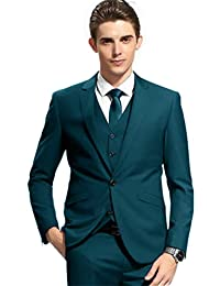 SETWELL Men's 3 Pieces Suit Slim Fit Notched Lapel Solid Tuxedos for Wedding Blazer with Vest