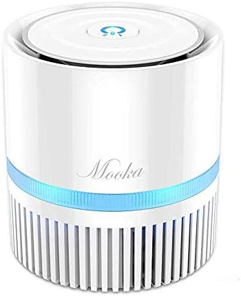 MOOKA Air Purifier for Home, 3-in-1 True HEPA Filter Air Cleaner for Bedroom and Office, Odor Eliminator for Allergies and Pets, Smoke, Dust, Mold, 3-D Filtration, Night Light, Available for California