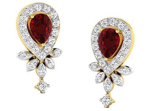Libertini Boucle d'oreille argent 925 plaque or Jaune serti de Diamant et Rubis