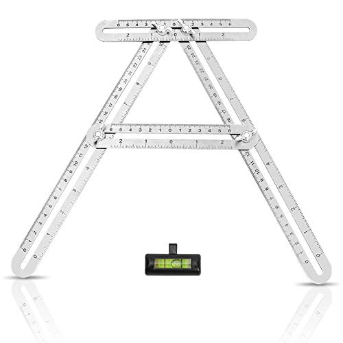 WIWAPLEX Universal Angularizer Ruler, Stainless Steel Multi Angle Measuring  Tool, Full Metal Angle Template Angular Ruler Laser Engraved Scale for