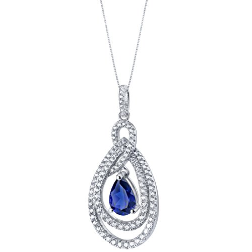 Tear Drop Created Blue Sapphire Sterling Silver Glamour Pendant Necklace