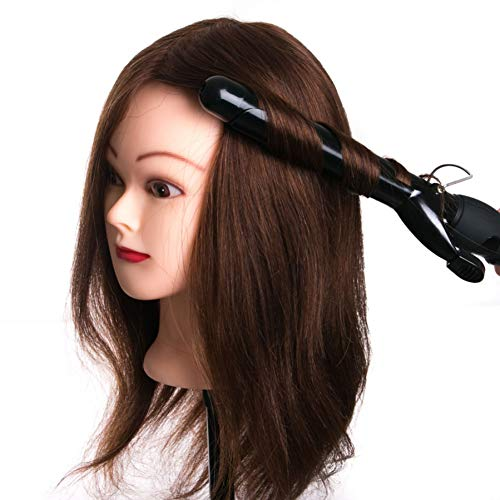 Tfmox Training Head hair head dolls for hairdressers 16'' brown training head professional Mannequin with small clamp,can be curled