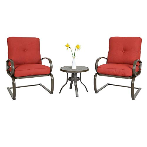 Iwicker Patio 3 PCS Bistro Set Outdoor Springs Motion Chairs and Round Table (Red) (Chairs Patio Spring)
