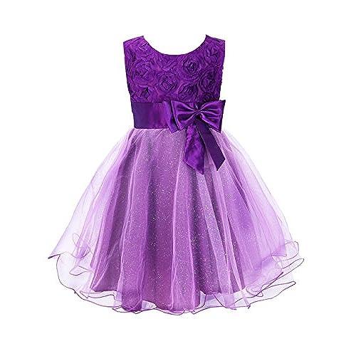 Colorful House Girls 3D Flower Wedding Bridesmaid Party Princess Dress (Size 4, Purple)