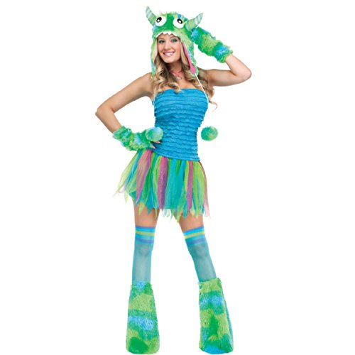 Monster Costumes Women (FunWorld Sexy Beast Monster Adult, Blue/Green, 2-8 Small Costume)