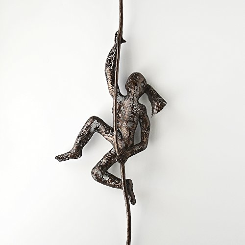 Wall hanging, Climbing woman on rope, home decor, Metal sculpture, home decor, Contemporary wall art, 3d wall art