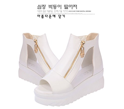 Reißverschluss Schuhe Weiß Sandalen Gaorui mit Open Weiß Schwarz Keilabsatz Freizeit Toe Flache Plateau Damen 8nnYp4F