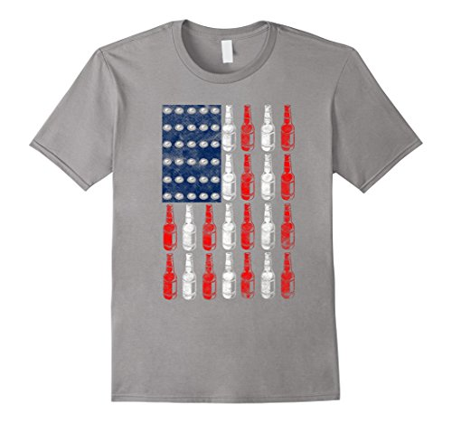Mens Patriotic Beer Bottle USA American Flag 4th of July T-Shirt Large Slate (Slate Bottle)