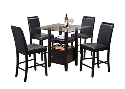 Pilaster Designs - 5-Piece Counter Height Dining Set, Table & 4 Chairs (Black) (Dining Room Leather Cabinet)