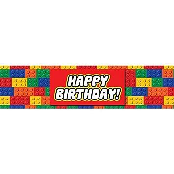 Bloques de construcción Banner de feliz cumpleaños - 1.2m ...