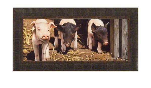 THREE LITTLE PIGS by Jerry Gadamus 14x28 FRAMED ART S//N Piglets Farm Animals Pig