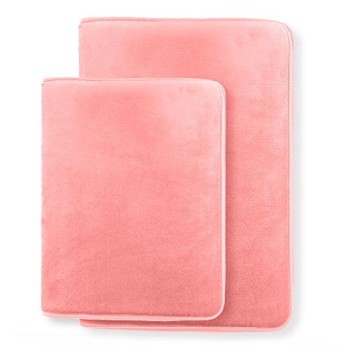 Memory Foam Bathrug ? Pink (Coral) Bath Mat, Set Of 2, Large 20? x 32?, And A Small 17? x 24?, Non Slip Latex Free Plush Microfiber. Comfortable, Beautiful and Maximum Absorbency.