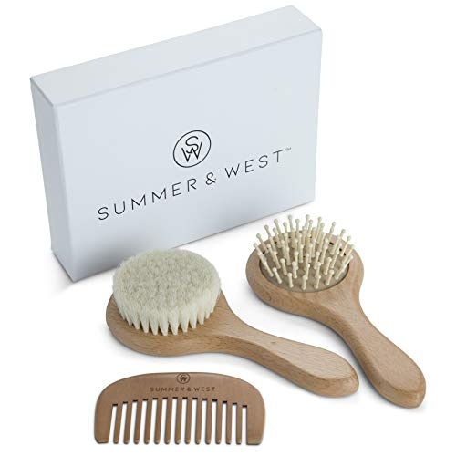 Natural Wooden Baby Brush and Comb Set - Premium Baby Brush Set - Newborn and Toddlers