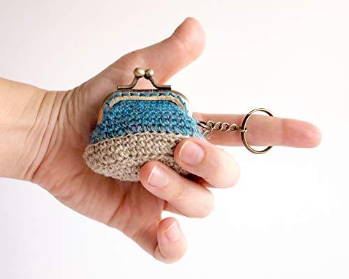 Mini monedero llavero de ganchillo con boquilla: Amazon.es ...