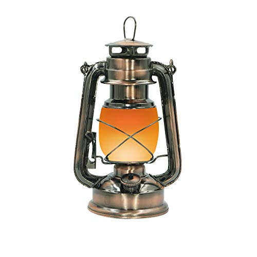 Luwint Vintage Electric Hanging Lantern with Rechargeable Battery Operated, 2 Modes, Flickering Flame and Full White Light (Antiqued - Castle Lighting Pendant