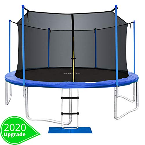 ORCC New Upgrade15 14 12 10FT Trampoline with Safety Enclosure Net Wind Stakes Rain Cover Ladder,Outdoor Trampoline with TUV Certificated
