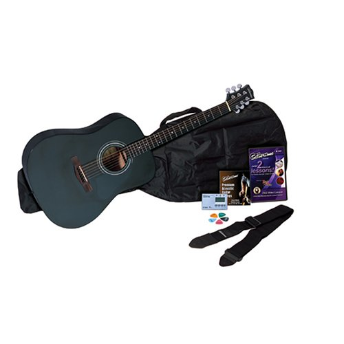 Silvertone SD10 Acoustic Guitar Package, Black by Silvertone