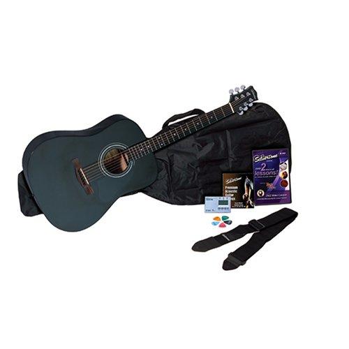 Silvertone SD10 Acoustic Guitar Package, Black