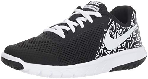 New Nike Girl's Flex Experience 5 Print Athletic Shoe Black/White 6 ()