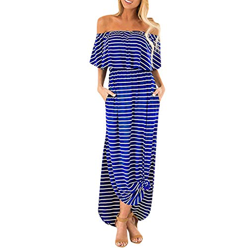 WEISUN Women Off Shoulder Dress Stripe Ruffle Casual Side Split with Pockets Summer Beach Maxi Dress Blue