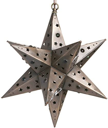 16 Inch Mexican Hanging Tin Star Light – Star Cut with Marbles