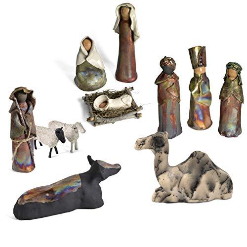 (PotTerre Raku Pottery Handmade 11-Piece Nativity)