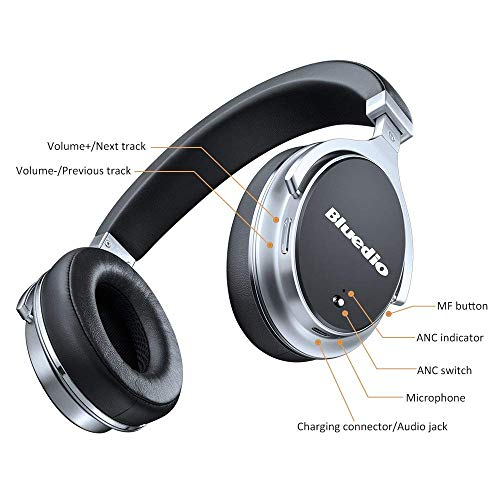 743cc34c045 Bluedio F2 (Faith) Active Noise Cancelling Over-ear Business Wireless  Bluetooth Headphones with Mic (Black)