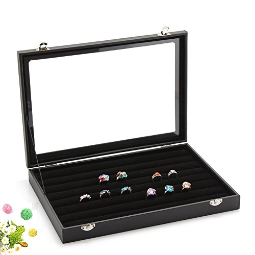 Wuligirl 7 Slots Velvet Ring Display Box Storage Jewelry Boxes Stackable Glass Top with Lid & Lock, Black (Rings Jewelry Box) 7 Slot Knife Storage