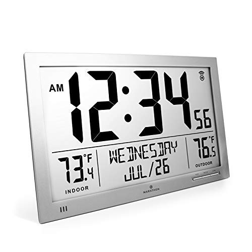 Marathon CL030066 Slim Atomic Full Calendar Clock with Indoor/Outdoor Temperature. Extra Long 4.5 Inch Digits. Comes with External Probe for Refrigerators (Graphite Grey)