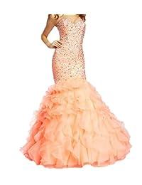 Fllbridal Women's Beaded Sweetheart Lace Up Mermaid Prom Dresses 2016 XC009